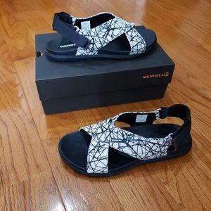 NWT Merrell Sunvue Strap Sandal Black White Size 7